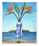 Birds Over Paradise Flowers Fleece Blanket