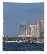 Biscayne Bay At Miami Yatch Club Fleece Blanket