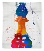Bishop Chess Piece Paint Splatter Fleece Blanket