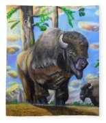 Bison Acrylic Painting Fleece Blanket