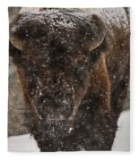 Bison Buffalo Wyoming Yellowstone Fleece Blanket