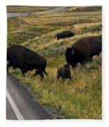 Bison Disrupting Traffic Fleece Blanket