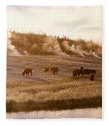 Bison Firehole River Yellowstone Fleece Blanket