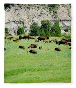 Bison Herd II Fleece Blanket