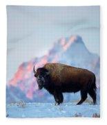 Bison Mountain Sunset Fleece Blanket