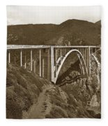Bixby Creek Aka Rainbow Bridge Bridge Big Sur Photo  1937 Fleece Blanket