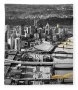 Black And Gold Pittsburgh  Fleece Blanket