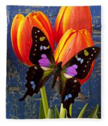 Black And Pink Butterfly Fleece Blanket