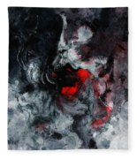 Black And Red Abstract Painting  Fleece Blanket