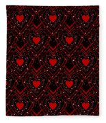Black And Red Hearts Fleece Blanket
