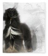 Black And Tan Afghan Hound In The Wind Fleece Blanket