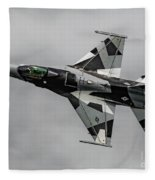 Black And White 18th Aggressor Sqn Viper Topside Against The Grey Fleece Blanket