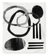 Black And White- Abstract Art Fleece Blanket