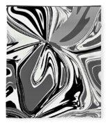 Black And White Abstract Flower Fleece Blanket