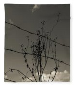 Black And White Barbwire And Branch Fleece Blanket
