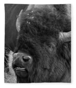 Black And White Bison In Heat Fleece Blanket