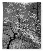 Black And White Blossoms Fleece Blanket
