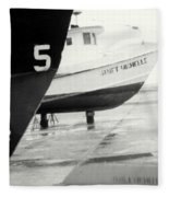 Black And White Boat Reflection Fleece Blanket