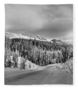 Black And White Bow Valley Parkway - Winter Fleece Blanket