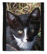 Black And White Cat Fleece Blanket