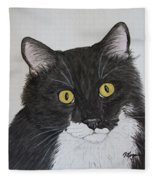 Black And White Cat Fleece Blanket