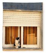 Black And White Cat On The Windowsill Fleece Blanket