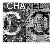 Black And White Chanel Art Fleece Blanket