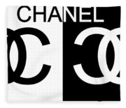 Black And White Chanel Fleece Blanket