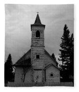 Black And White Church In Williston North Dakota. Fleece Blanket