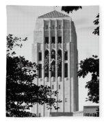 Black And White Clock Tower Fleece Blanket