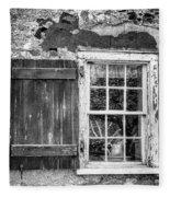 Black And White Cottage Window Fleece Blanket