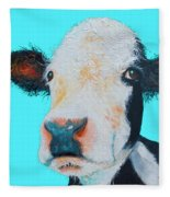 Black And White Cow On Blue Background Fleece Blanket