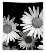 Black And White Daisy 2 Fleece Blanket