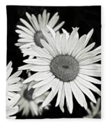 Black And White Daisy 3 Fleece Blanket