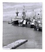 Black And White Fishing Boats On The Dock Fleece Blanket