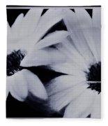 Black And White Floral Art Fleece Blanket