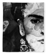 Black And White Frida Kahlo By Sharon Cummings Fleece Blanket