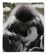 Black And White Image Of Colobus Monkeys Fleece Blanket by Vincent Billotto