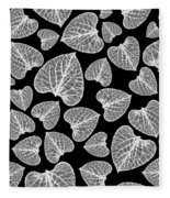 Black And White Leaf Abstract Fleece Blanket