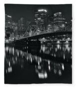 Black And White Lights Fleece Blanket