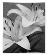 Black And White Lilies 1 Fleece Blanket