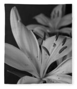 Black And White Lilies 2 Fleece Blanket