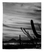 Black And White Night In Arizona Fleece Blanket