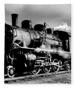 Black And White Of An Old Steam Engine  Fleece Blanket