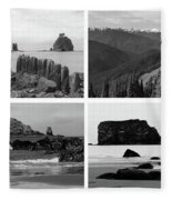 Black And White Olympic National Park Collage Fleece Blanket