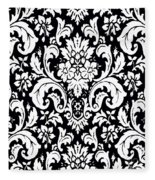 Black And White Paisley Pattern Vintage Fleece Blanket