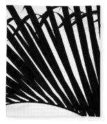 Black And White Palm Branch Fleece Blanket