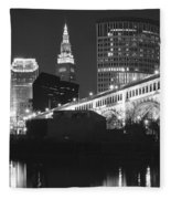 Black And White Panorama Of Cleveland Fleece Blanket