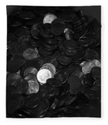 Black And White Pennies Fleece Blanket