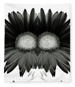 Black And White Petals Fleece Blanket